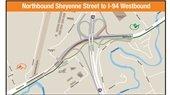 Map of northbound Sheyenne Street to I-94 westbound interstate changes