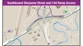 Map of southbound Sheyenne Street and I-94 ramp access that will not change