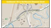 Map of changes to eastbound I-94 to northbound Sheyenne Street