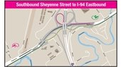 Map of southbound Sheyenne Street to I-94 eastbound interstage changes