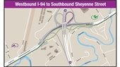 Map of westbound I-94 to southbound Sheyenne Street interstate changes