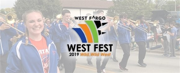 Sheyenne High School marching band with 2019 West Fest logo
