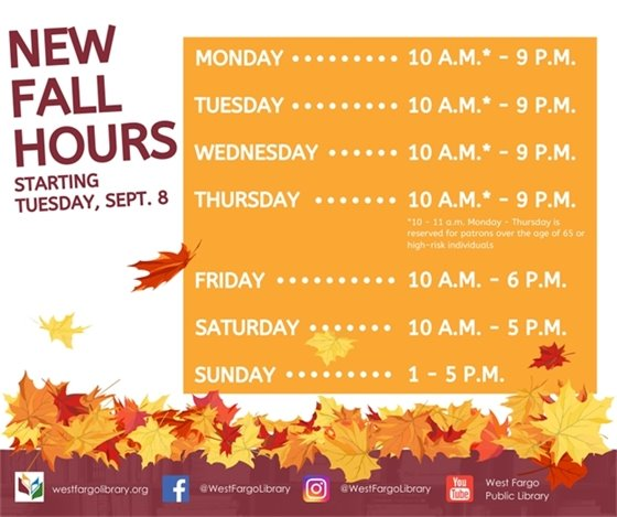 New Fall Hours Starting Tuesday, Sept. 8