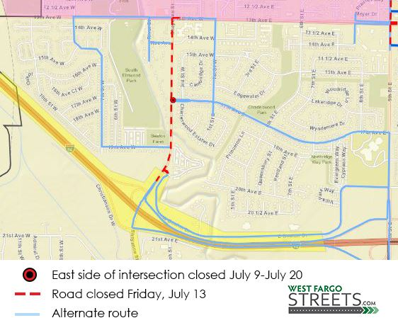 Sheyenne Street and 17th Avenue W. closures