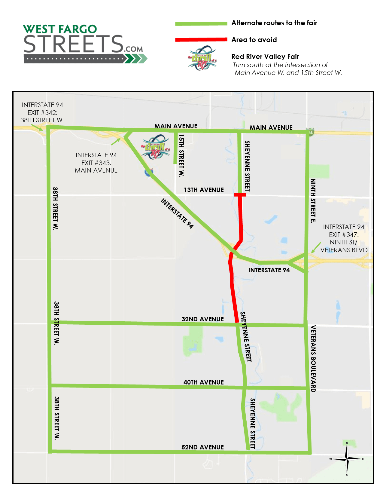 RRVF Alternate Route Map