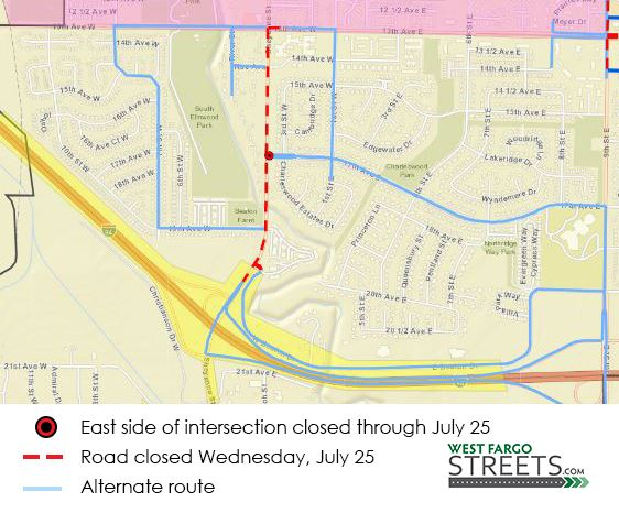 Sheyenne Street July 25 closure and detours