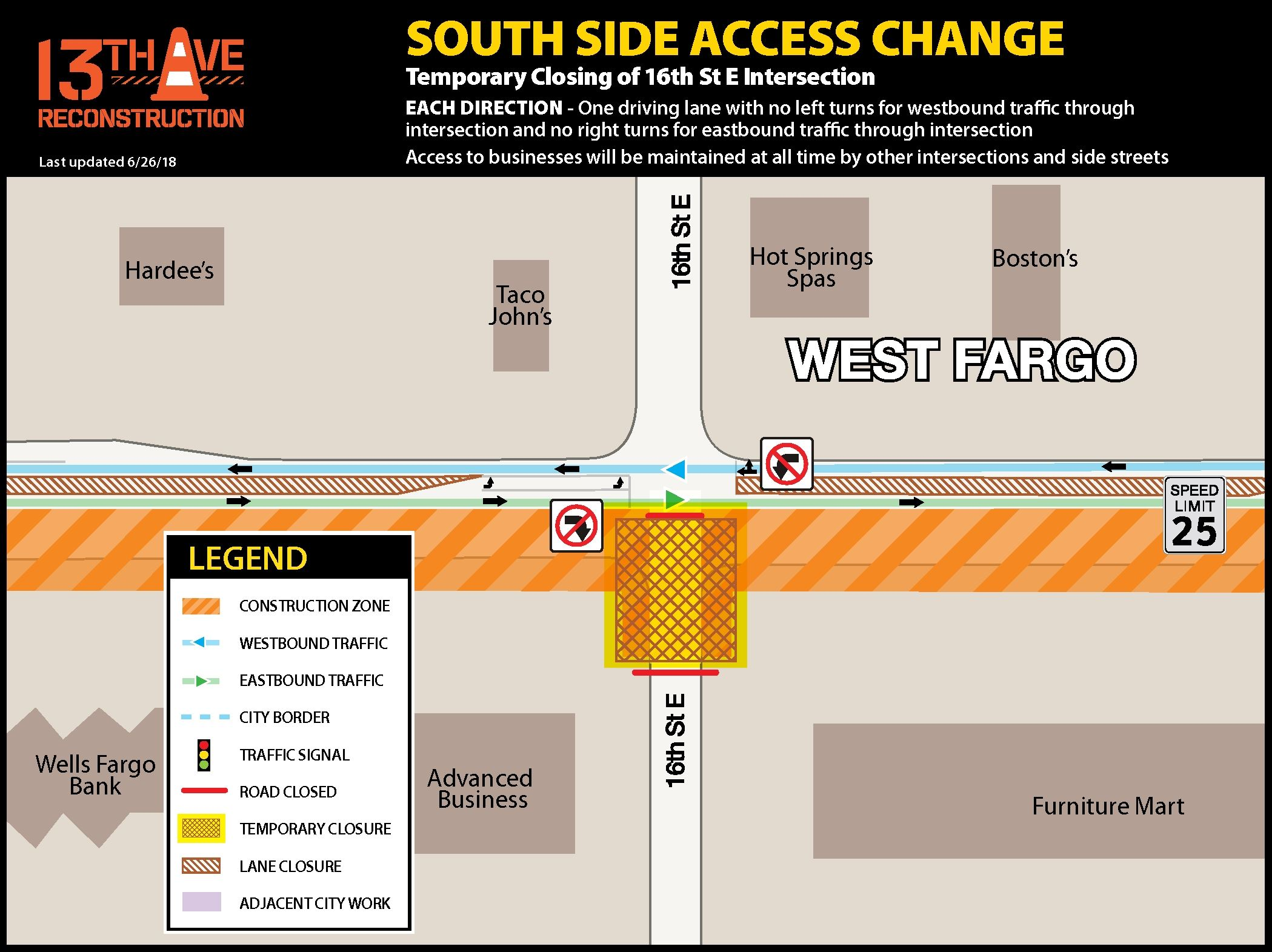 Temporarily closing south side of 16th St. E. intersection