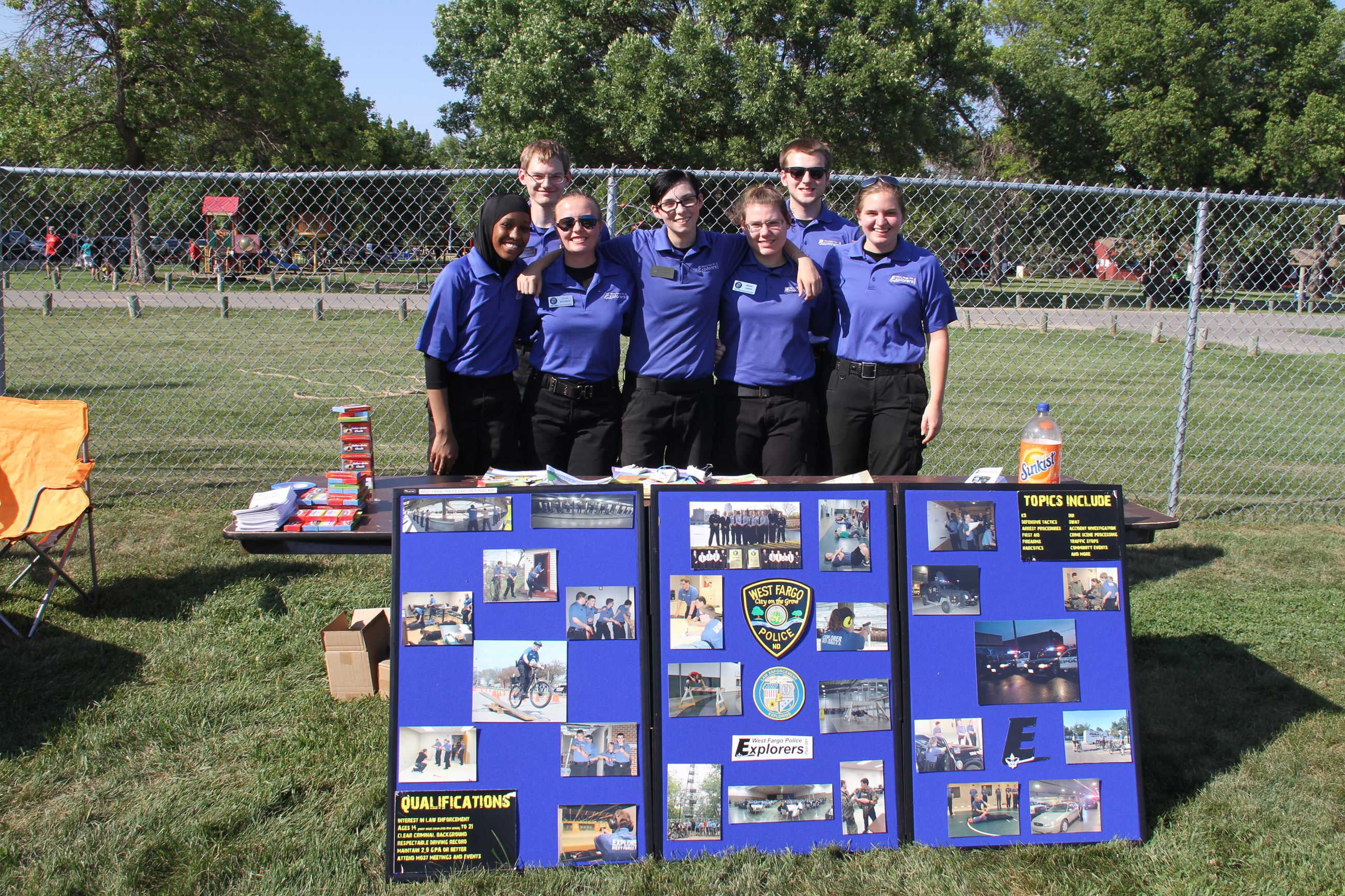West Fargo Police Explorers inform attendees of their program