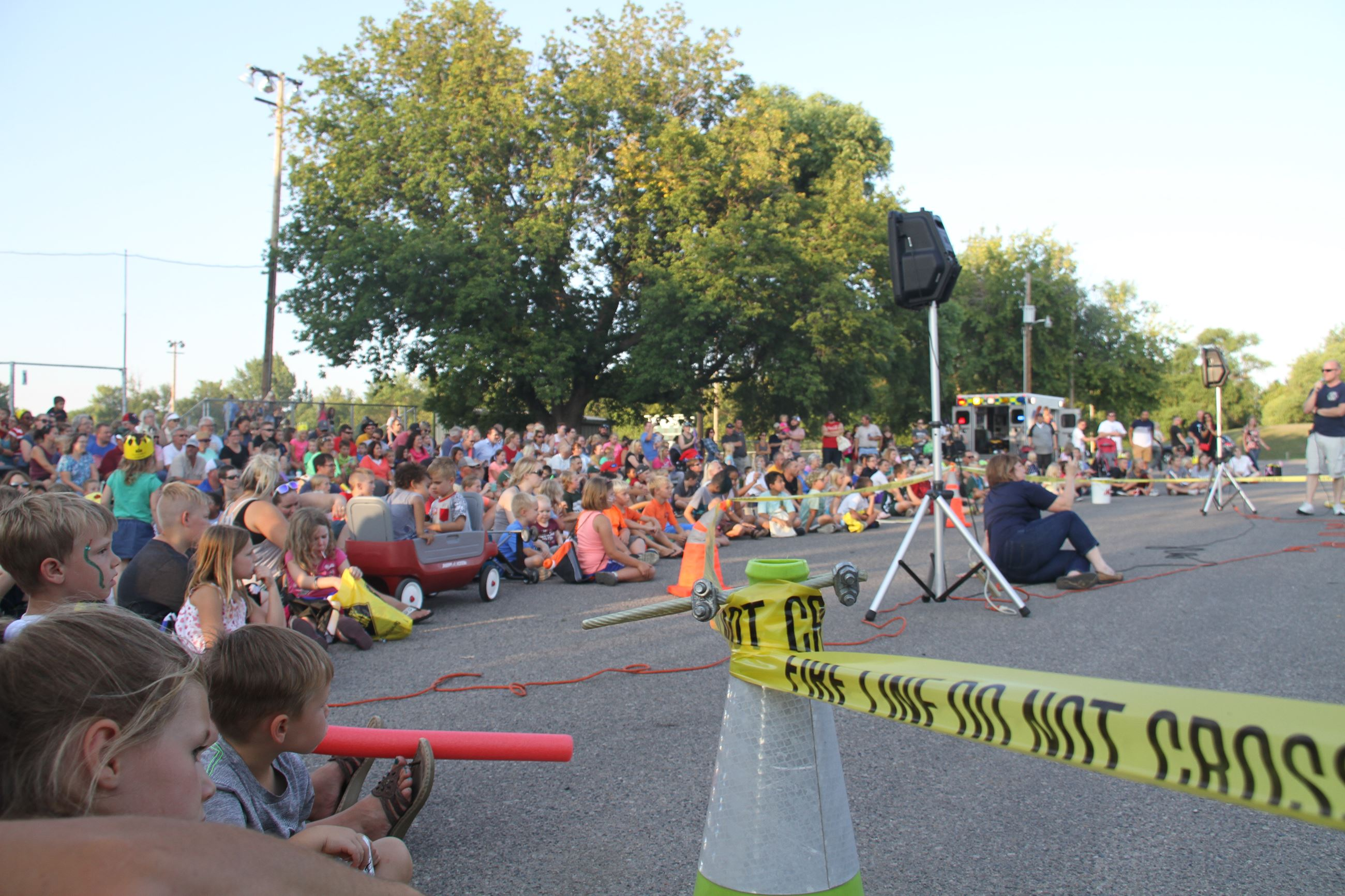 Crowd watches the West Fargo Fire Department demonstration