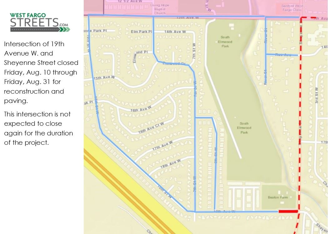 West side of 19th Ave. W. and Sheyenne St. closure notice