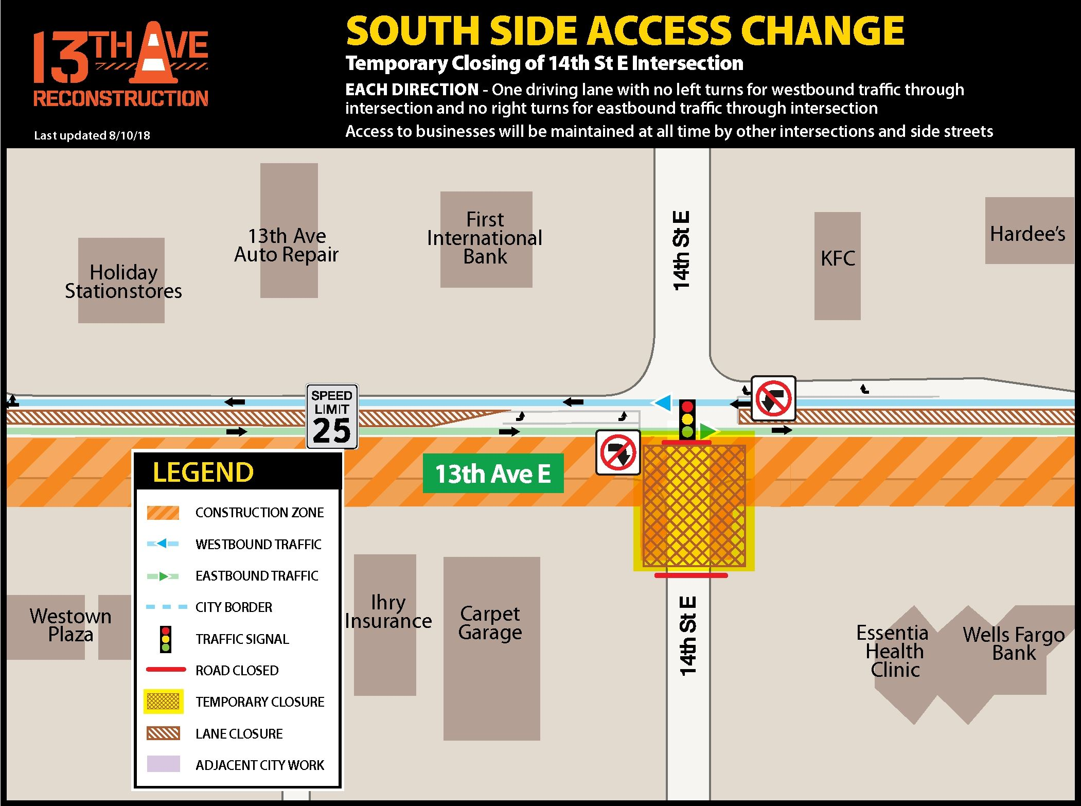 14th Street E. temporary closing traffic impacts