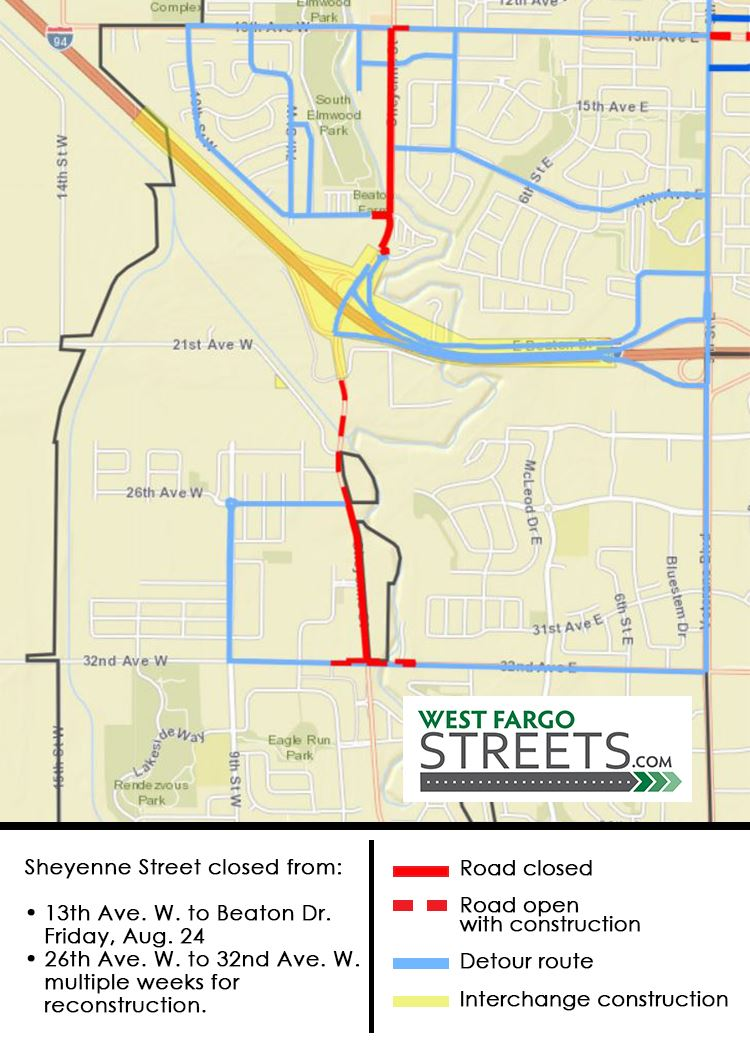 Sheyenne Street Pavingn Closure Aug. 24