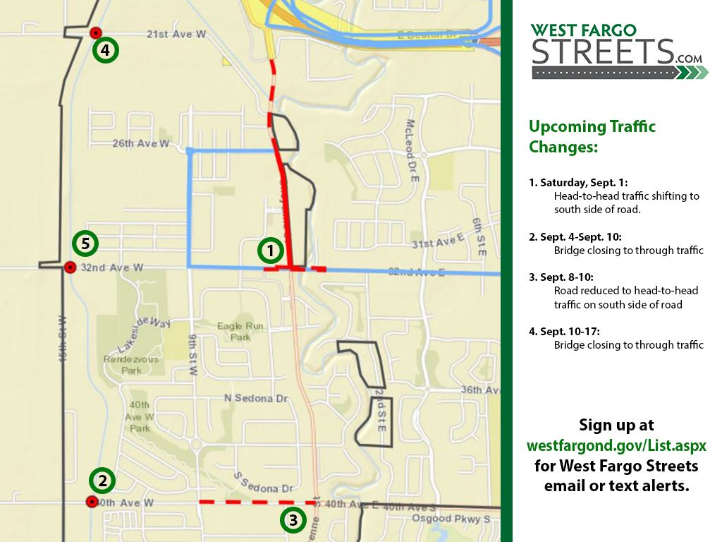 Sheyenne Street Sept. Traffic Changes