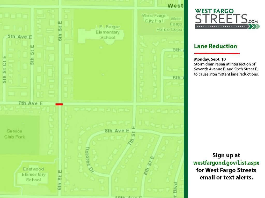 Seventh Avenue E. lane reduction