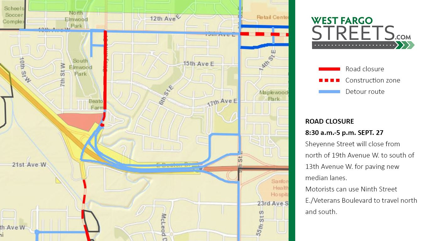 Sheyenne Street Sept. 27 closure