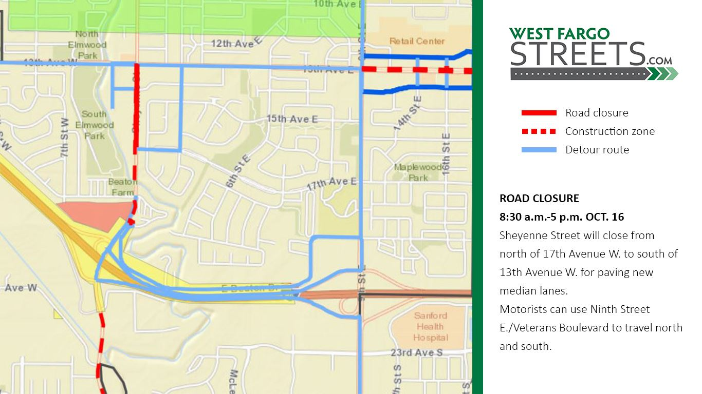 Sheyenne Street Oct. 16 closure