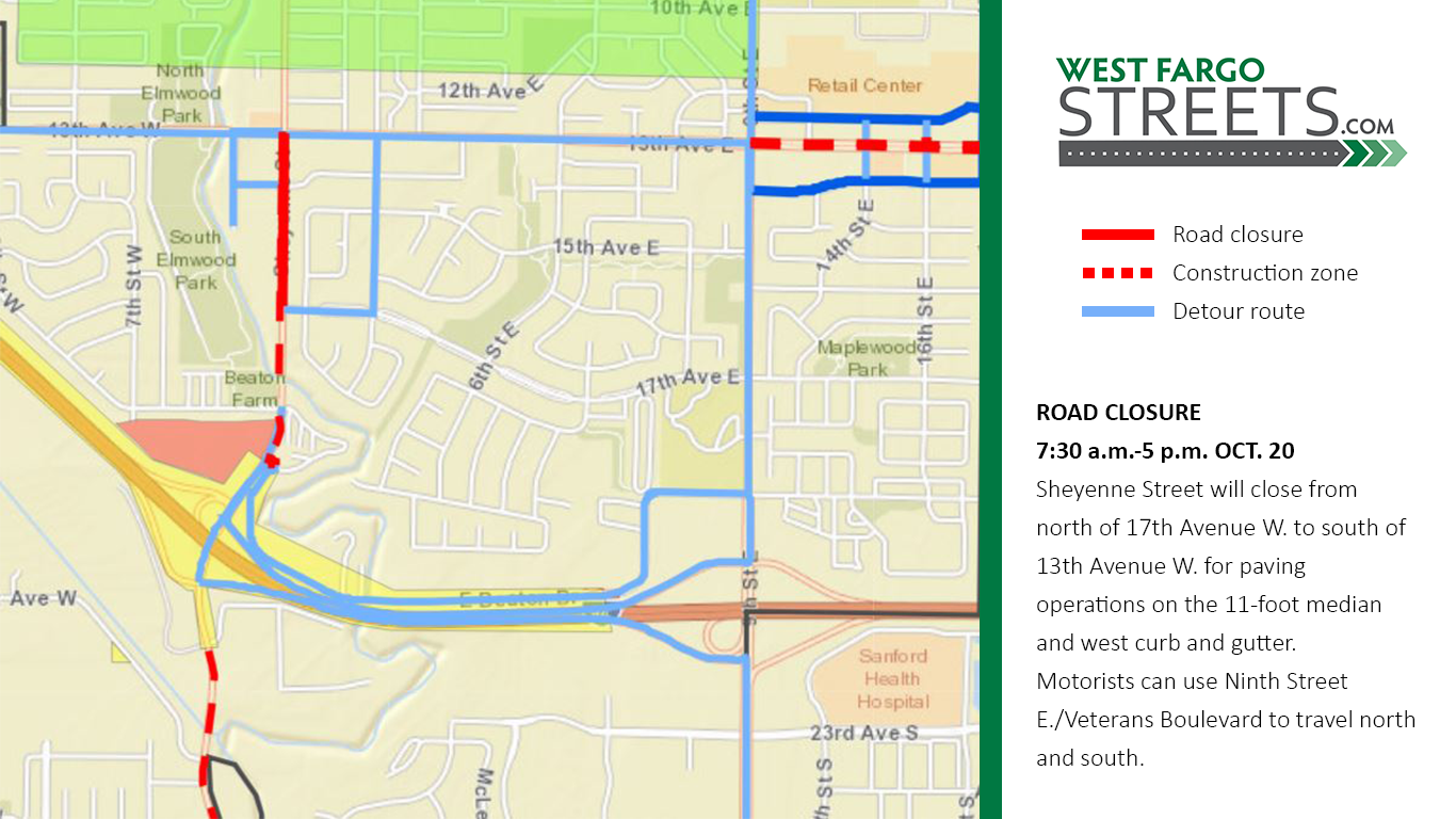 Sheyenne Street Oct. 20 closure