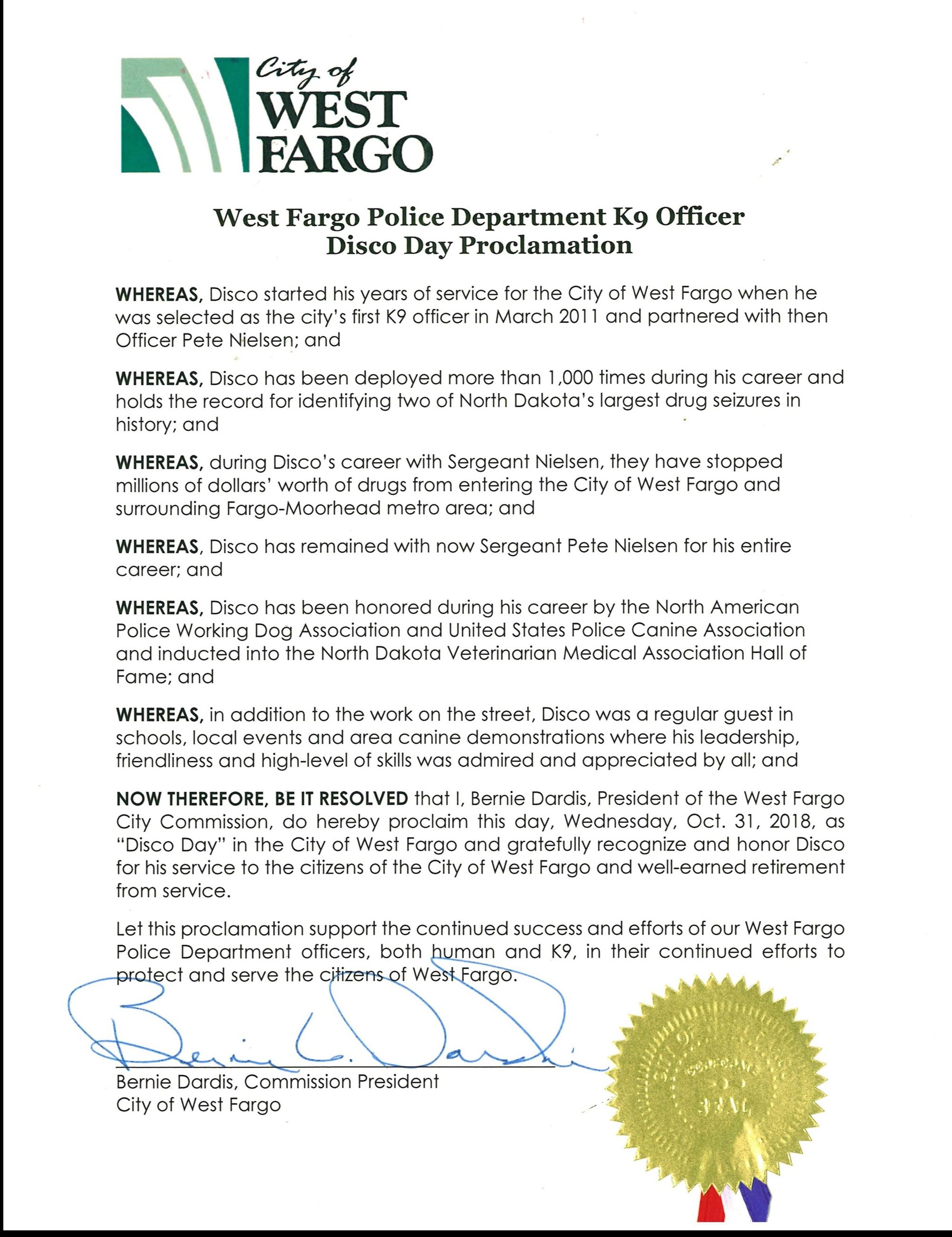 Disco Day Mayoral Proclamation