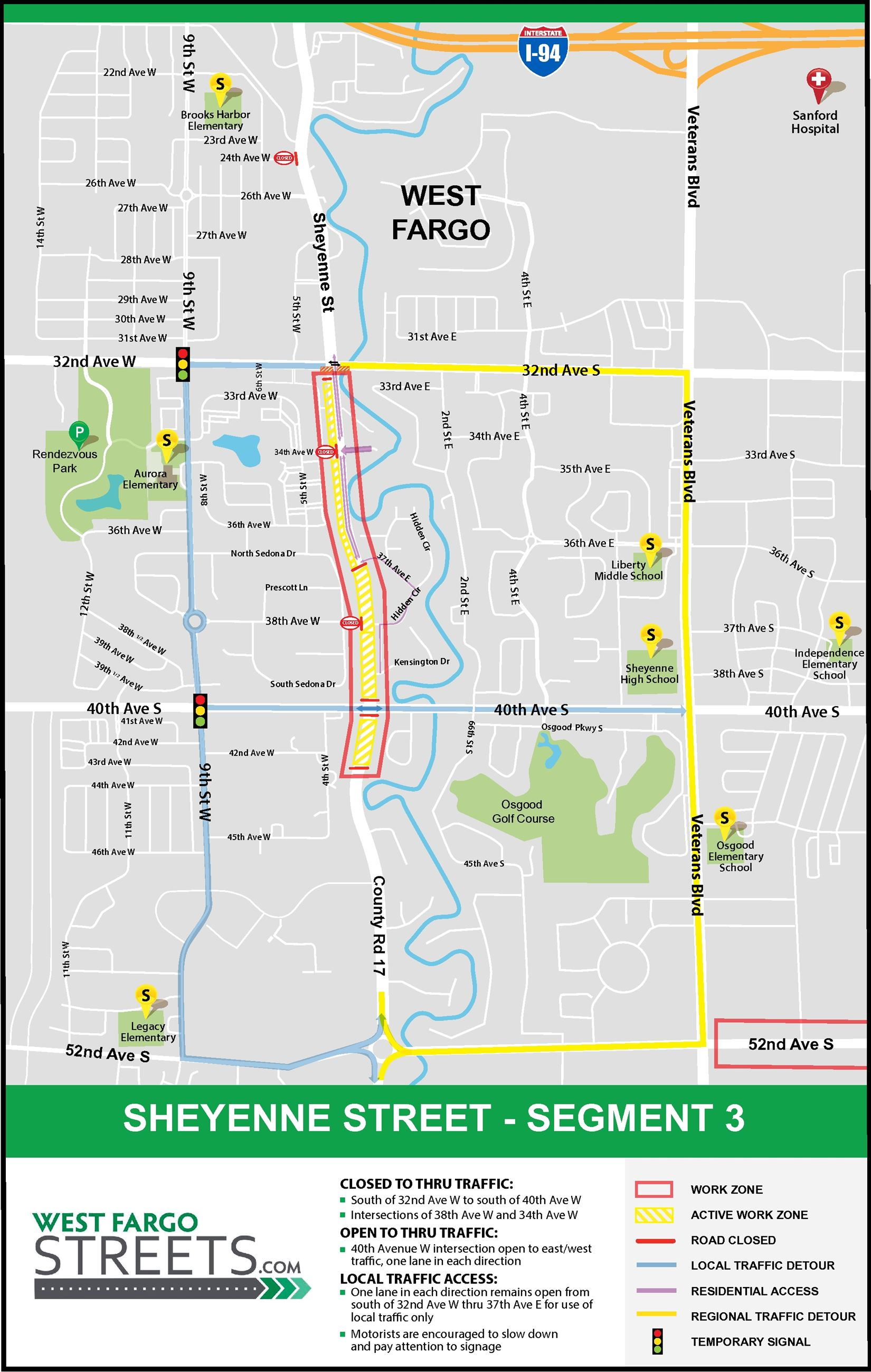 Overview map of Sheyenne Street segment 3 reconstruction as of April 22