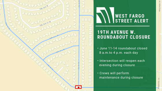 19th Avenue W Roundabout Closure map