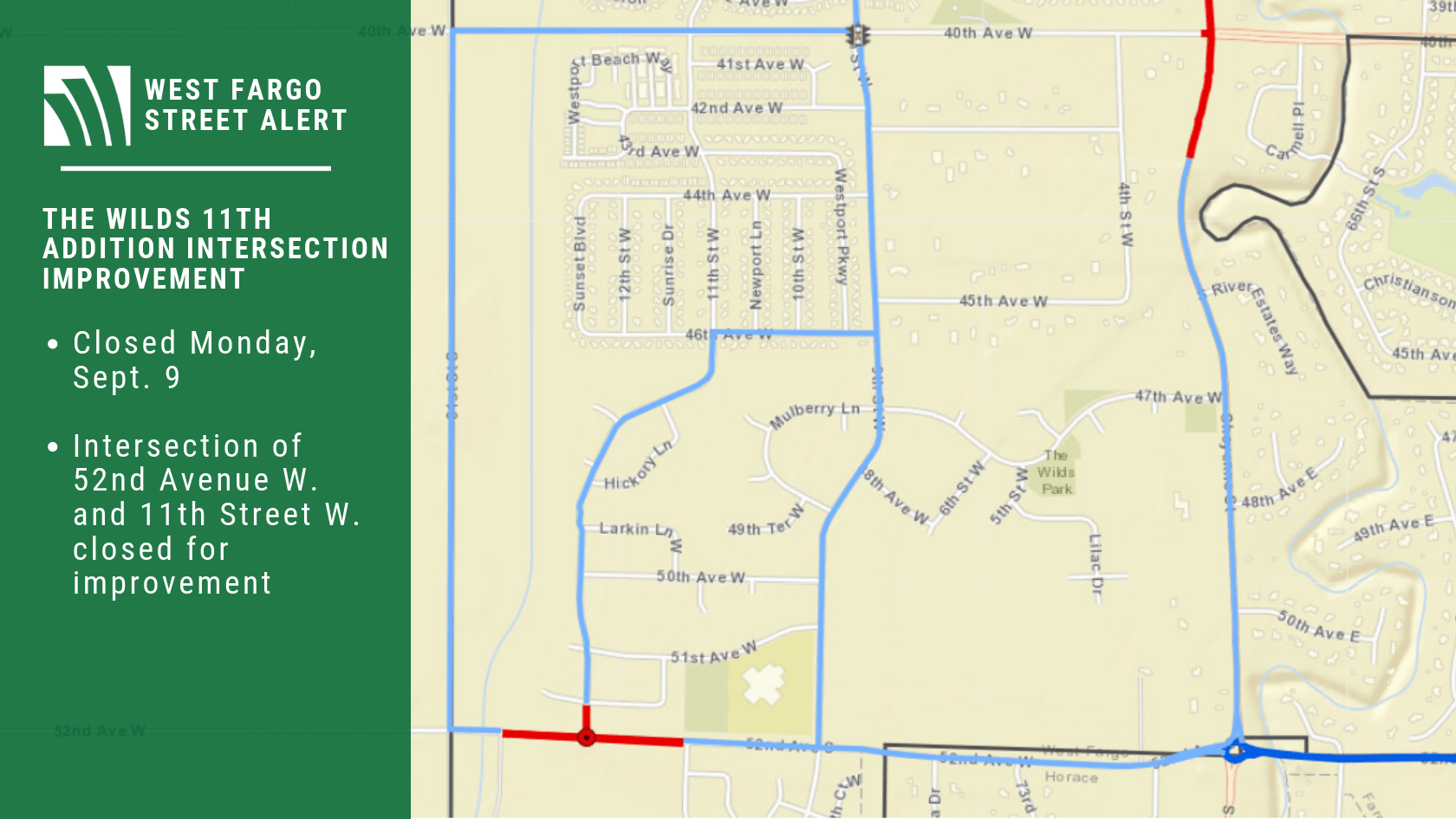 The Wilds 11th Addition Intersection Closure Sept. 9