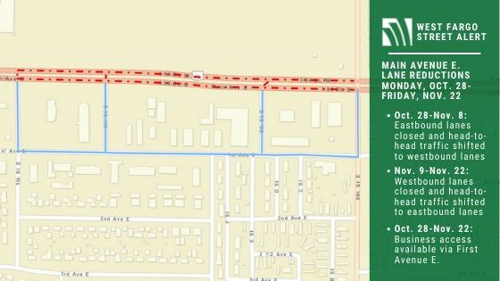 Map of Main Avenue E. lane reductions Oct. 28-Nov. 22