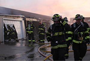 Fire fighters at some burn storage units