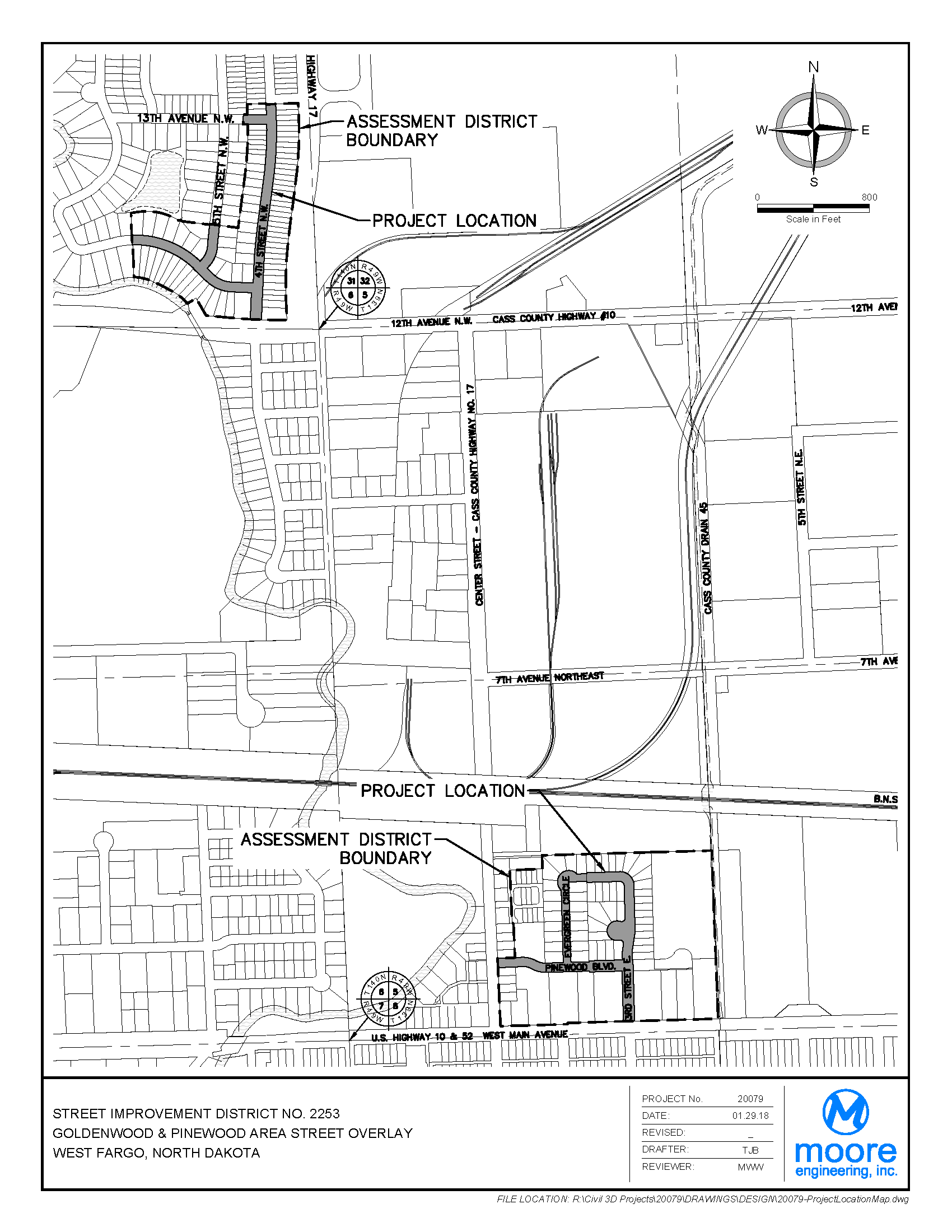 District No. 2253 Goldenwood and Pinewood Area Street Overlay Assessment District Boundary Map