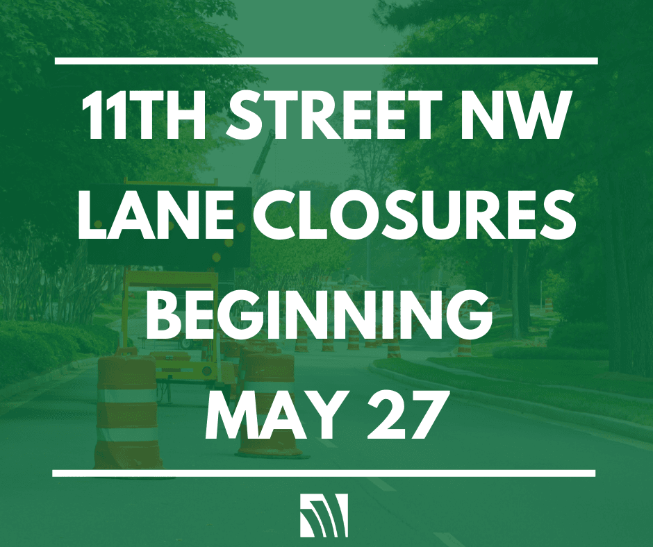 11th Street NW lane closures beginning May 27