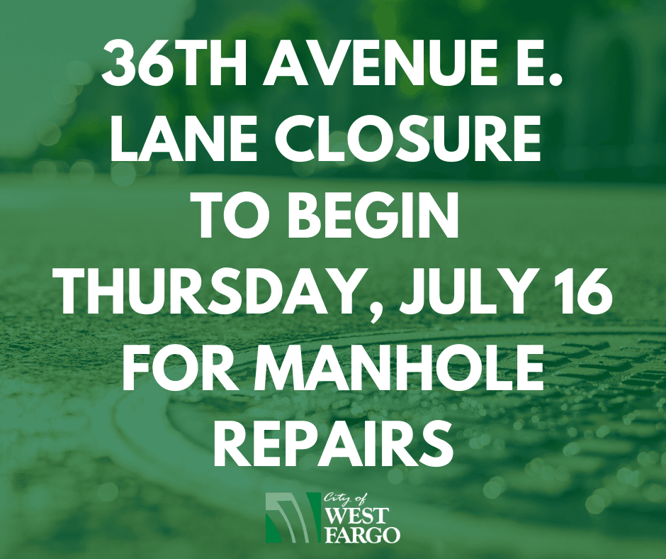 36th Avenue E. lane closure to begin Thursday, July 16 for manhole repairs