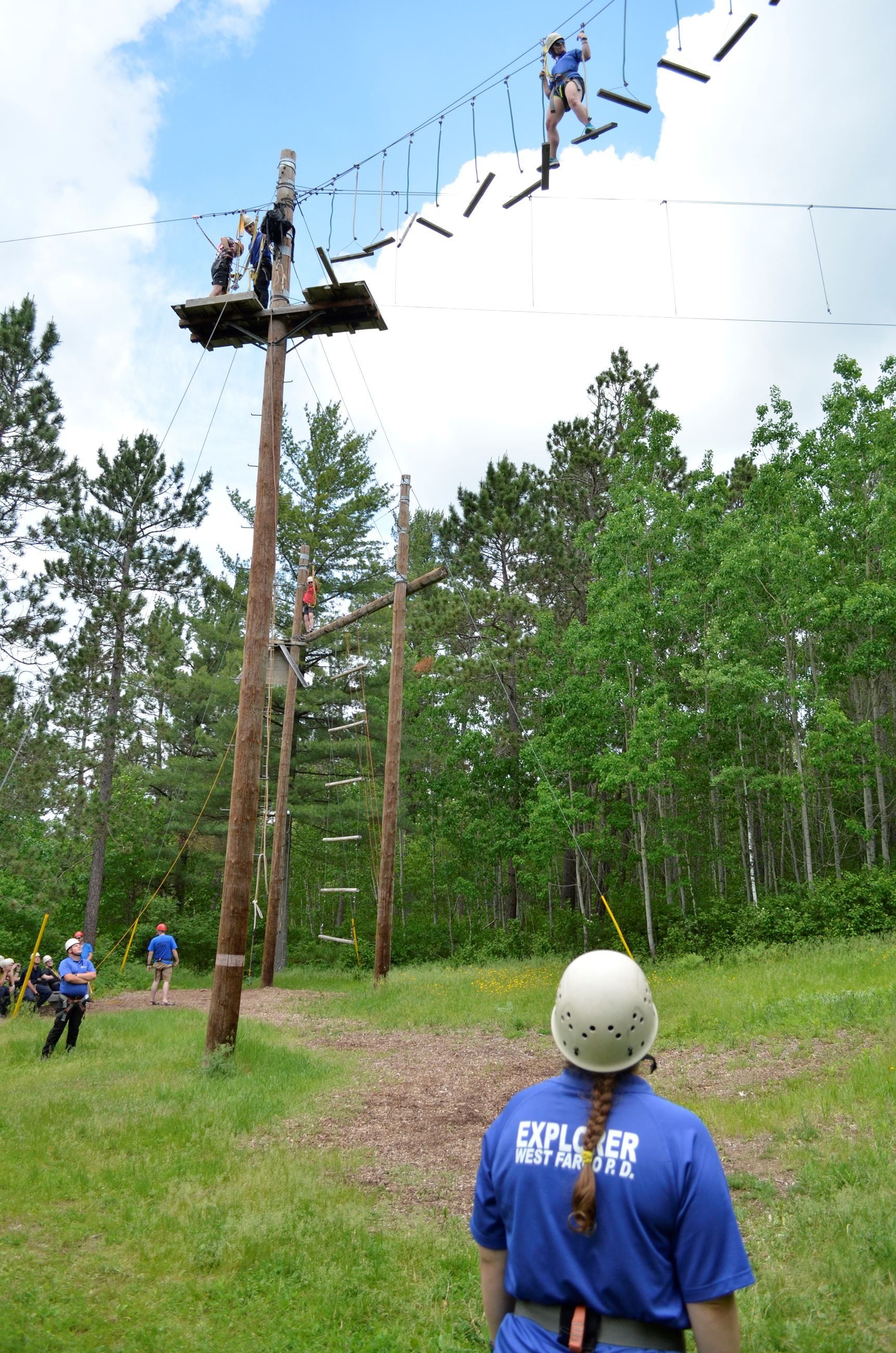 High ropes confidence course at the Law Enforcement Explorer's Summer Leadership Camp