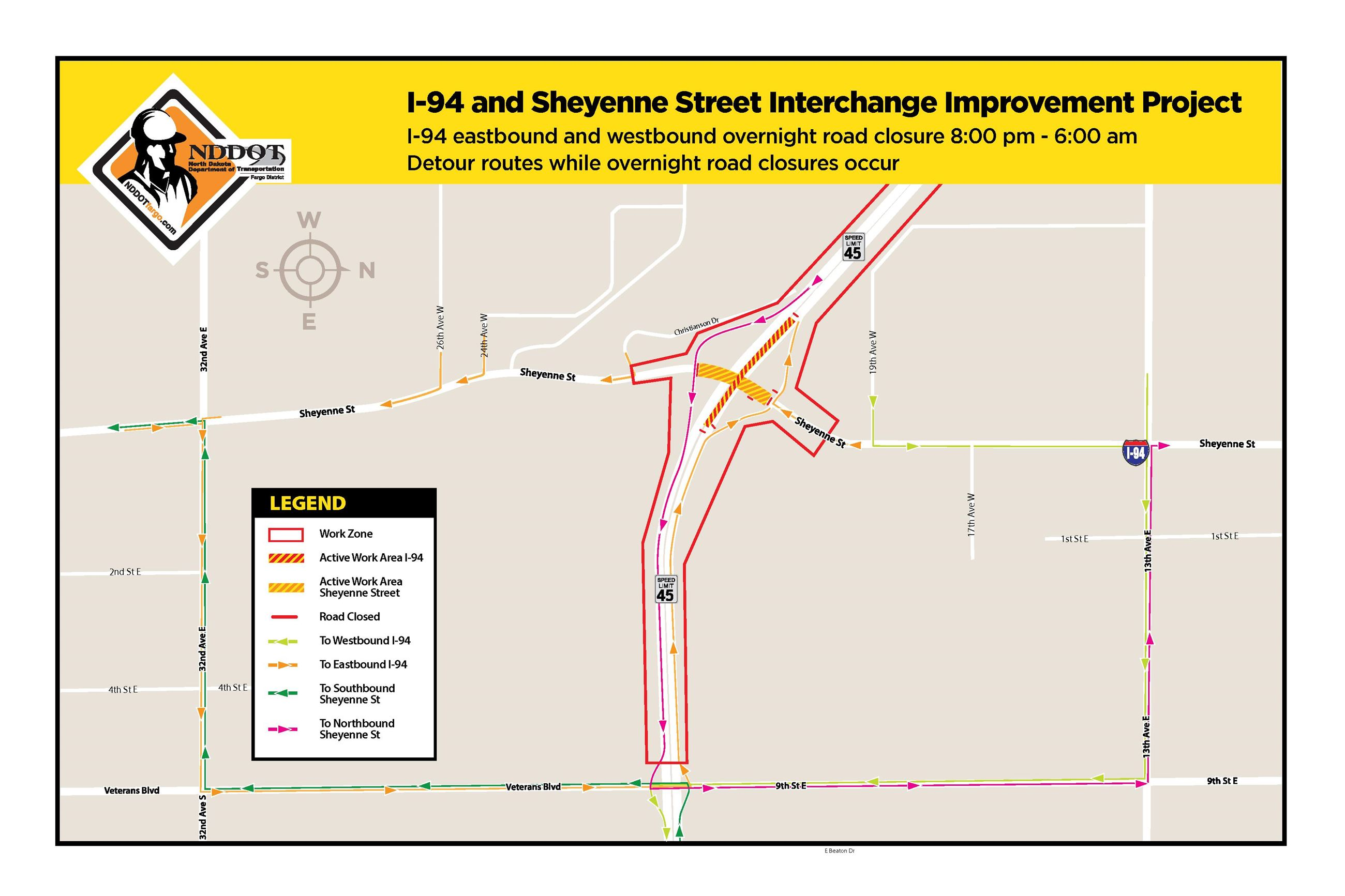 Sheyenne Street Night Closure Monday, June 4