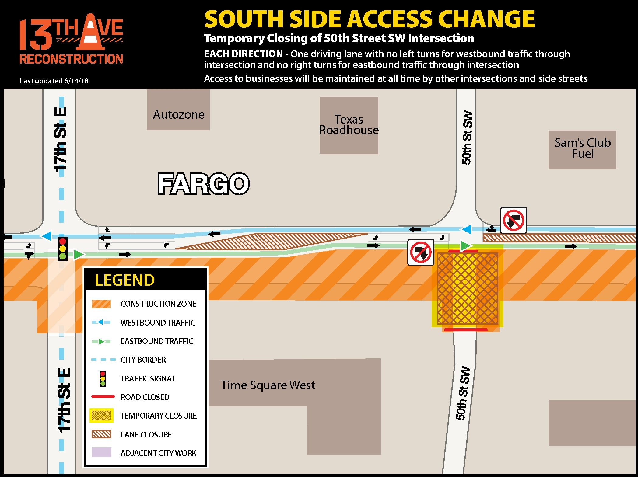 Temporary closing of 50th Street SW intersection