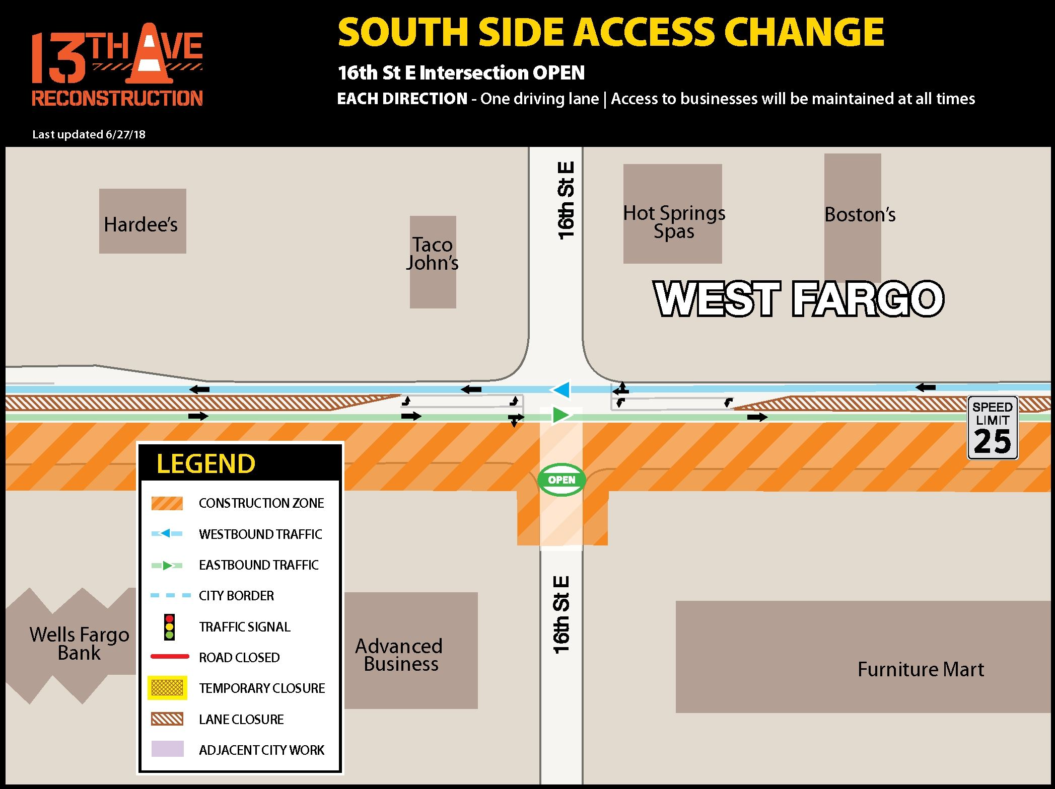 South side of 16th Street E. and 13th Avenue E. intersection reopening