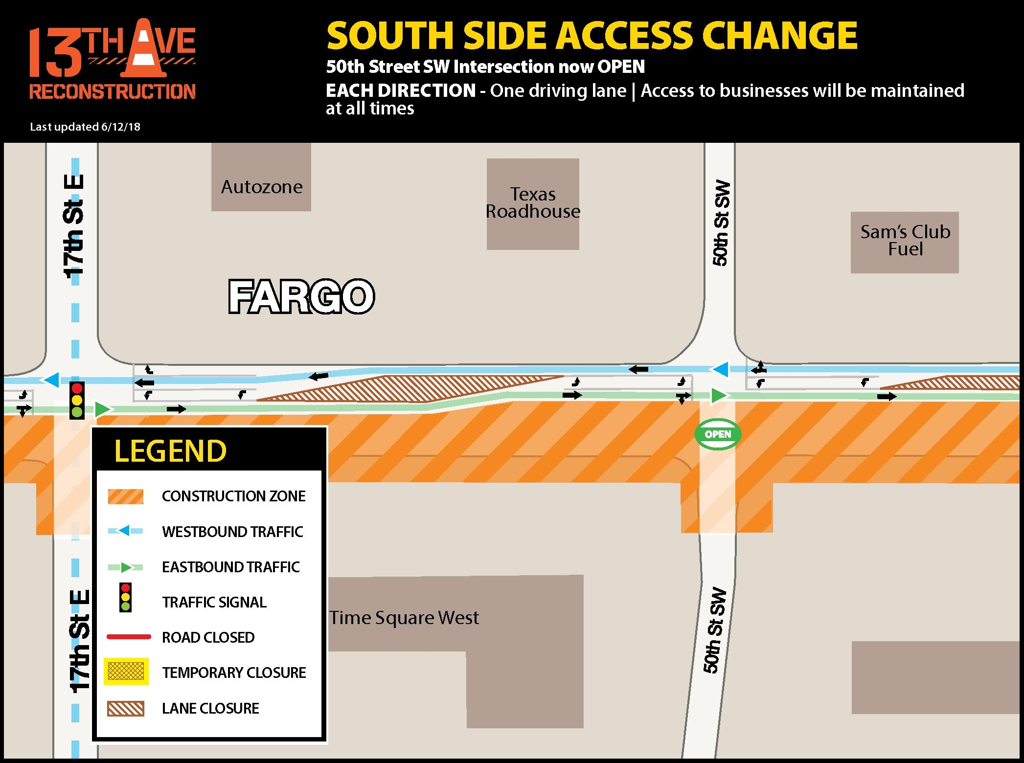 South side access change 50th St SW and 13th Avenue