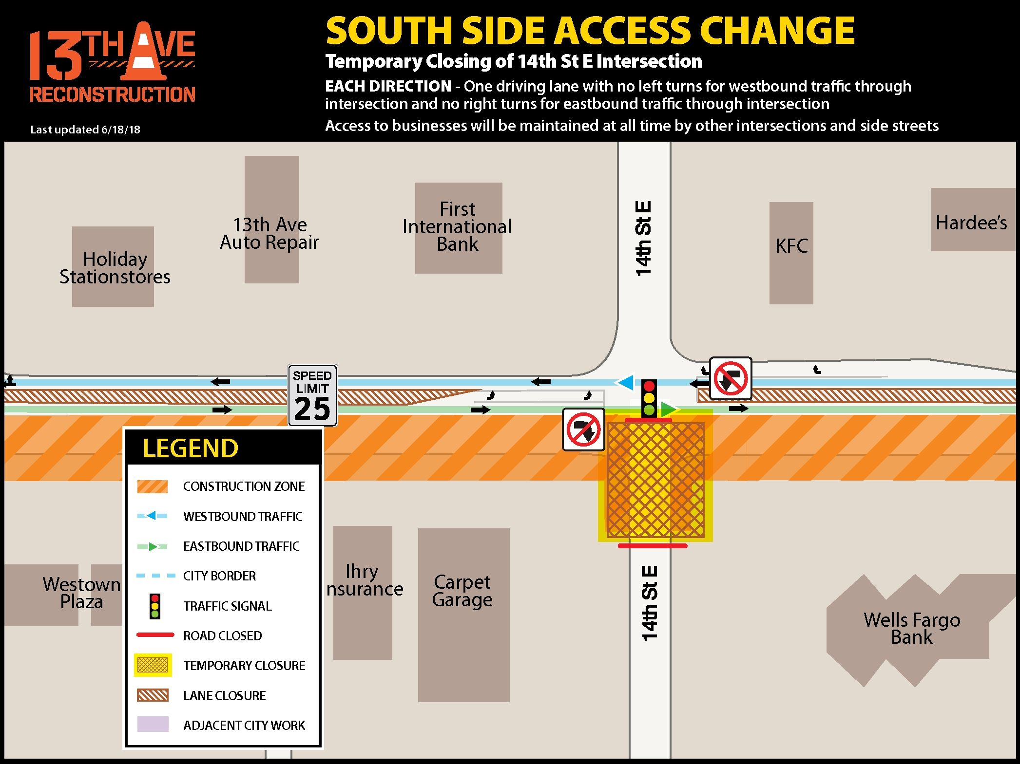South side access change -temporary closing of 14th St. E. intersection