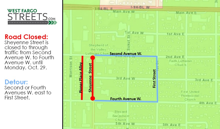 Sheyenne Street Pioneer Place closure until Oct. 29